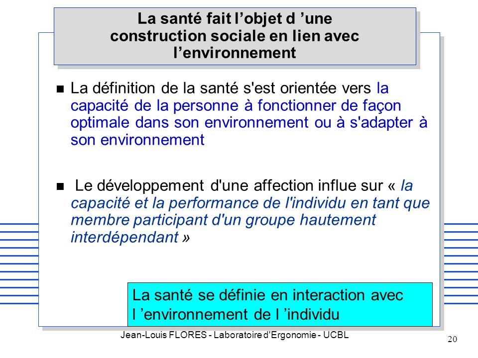 Jean-Louis FLORES - Laboratoire d'Ergonomie - UCBL 20 La santé fait lobjet d une construction sociale en lien avec lenvironnement n La définition de l