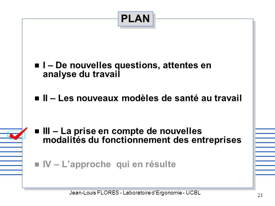Jean-Louis FLORES - Laboratoire d'Ergonomie - UCBL 21 PLAN n I – De nouvelles questions, attentes en analyse du travail n II – Les nouveaux modèles de