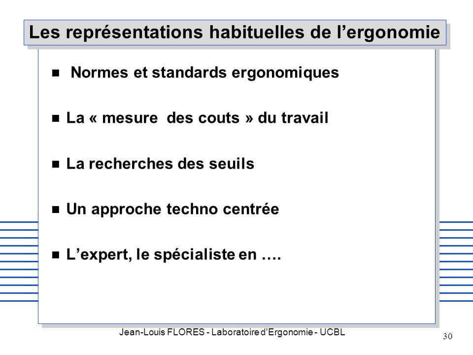 Jean-Louis FLORES - Laboratoire d'Ergonomie - UCBL 30 Les représentations habituelles de lergonomie n Normes et standards ergonomiques n La « mesure d