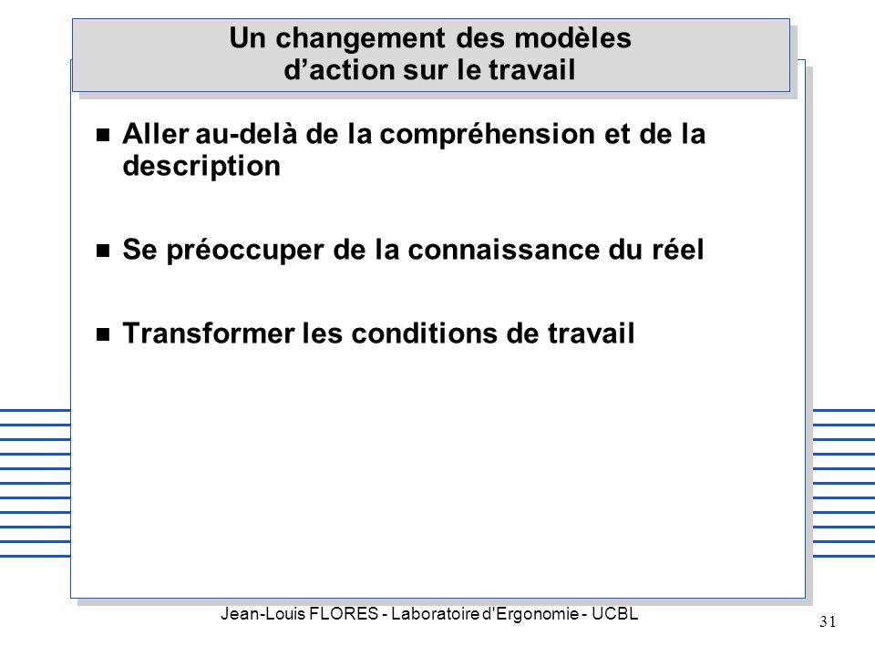 Jean-Louis FLORES - Laboratoire d'Ergonomie - UCBL 31 Un changement des modèles daction sur le travail n Aller au-delà de la compréhension et de la de