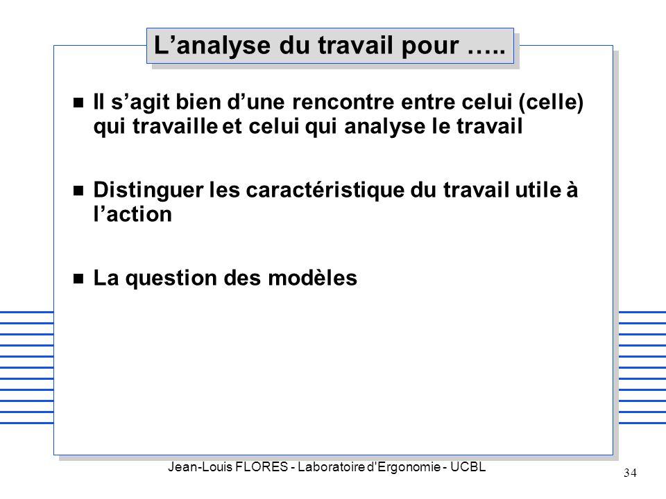 Jean-Louis FLORES - Laboratoire d'Ergonomie - UCBL 34 Lanalyse du travail pour ….. n Il sagit bien dune rencontre entre celui (celle) qui travaille et