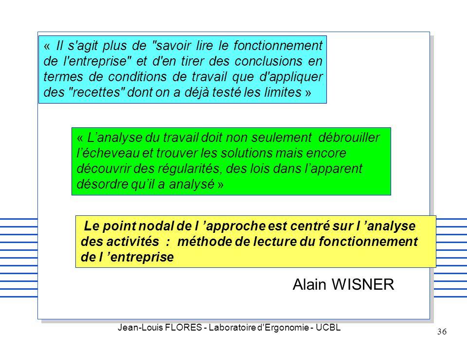 Jean-Louis FLORES - Laboratoire d'Ergonomie - UCBL 36 « Il s'agit plus de