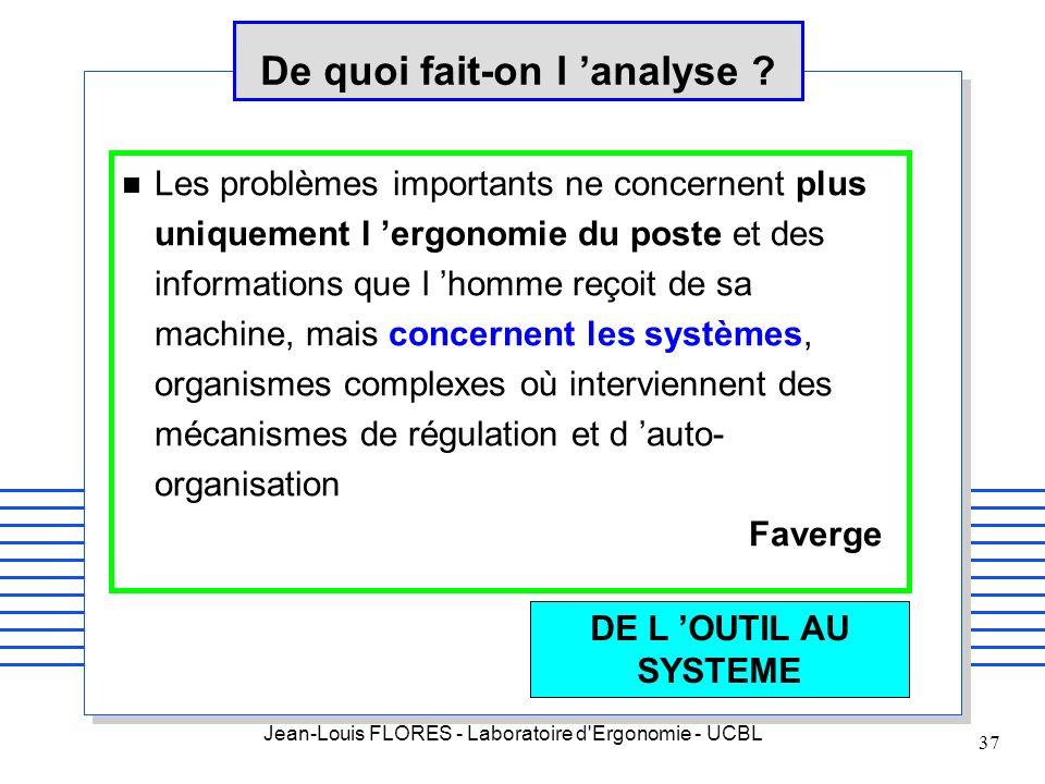 Jean-Louis FLORES - Laboratoire d'Ergonomie - UCBL 37 De quoi fait-on l analyse ? n Les problèmes importants ne concernent plus uniquement l ergonomie