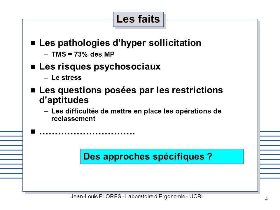 Jean-Louis FLORES - Laboratoire d'Ergonomie - UCBL 4 Les faits n Les pathologies dhyper sollicitation –TMS = 73% des MP n Les risques psychosociaux –L