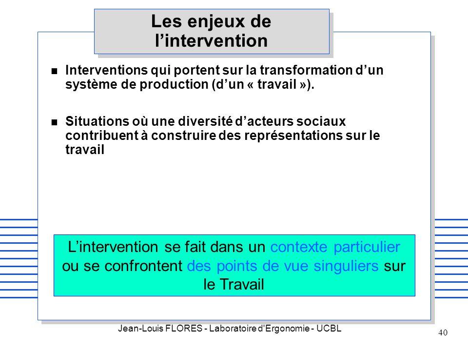 Jean-Louis FLORES - Laboratoire d'Ergonomie - UCBL 40 Les enjeux de lintervention Interventions qui portent sur la transformation dun système de produ