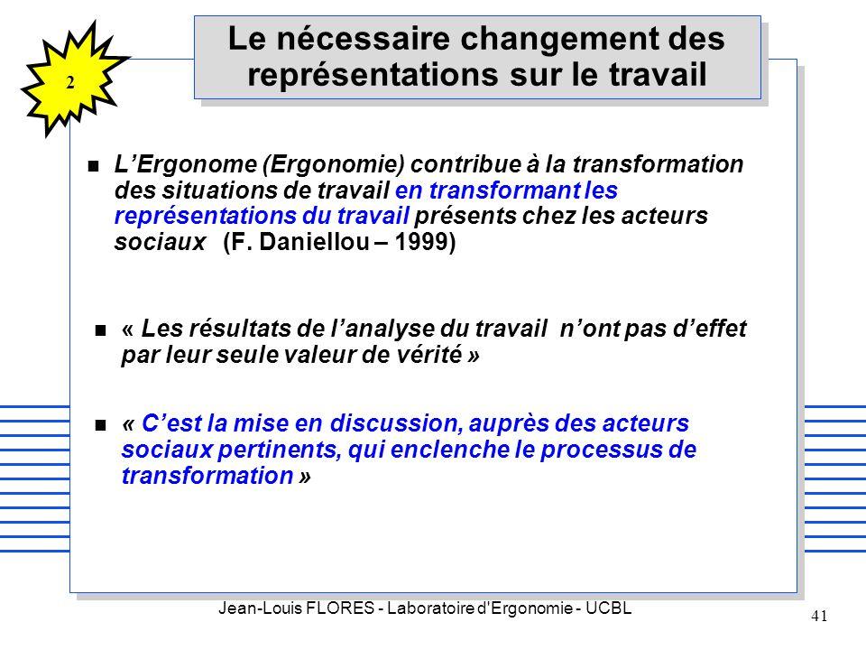Jean-Louis FLORES - Laboratoire d'Ergonomie - UCBL 41 Le nécessaire changement des représentations sur le travail n LErgonome (Ergonomie) contribue à