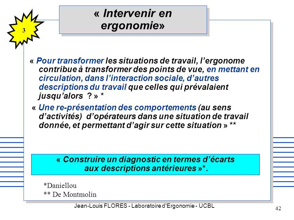 Jean-Louis FLORES - Laboratoire d'Ergonomie - UCBL 42 « Intervenir en ergonomie» « Pour transformer les situations de travail, lergonome contribue à t