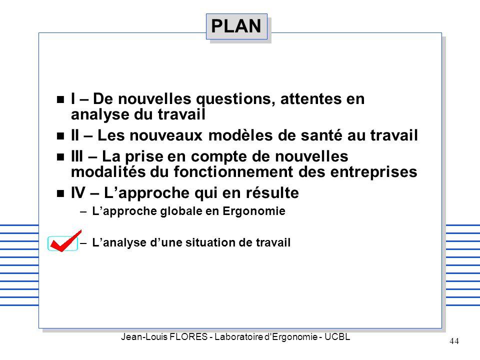 Jean-Louis FLORES - Laboratoire d'Ergonomie - UCBL 44 PLAN n I – De nouvelles questions, attentes en analyse du travail n II – Les nouveaux modèles de