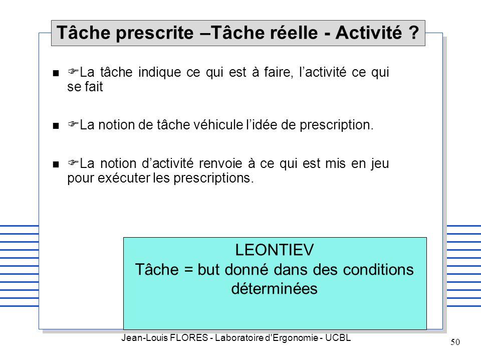 Jean-Louis FLORES - Laboratoire d'Ergonomie - UCBL 50 Tâche prescrite –Tâche réelle - Activité ? n La tâche indique ce qui est à faire, lactivité ce q