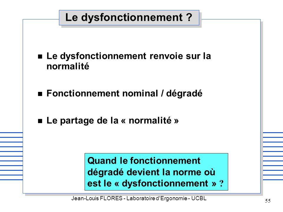 Jean-Louis FLORES - Laboratoire d'Ergonomie - UCBL 55 Le dysfonctionnement ? n Le dysfonctionnement renvoie sur la normalité n Fonctionnement nominal