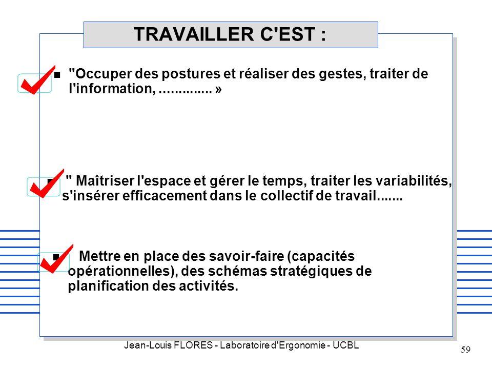 Jean-Louis FLORES - Laboratoire d'Ergonomie - UCBL 59 TRAVAILLER C'EST : n