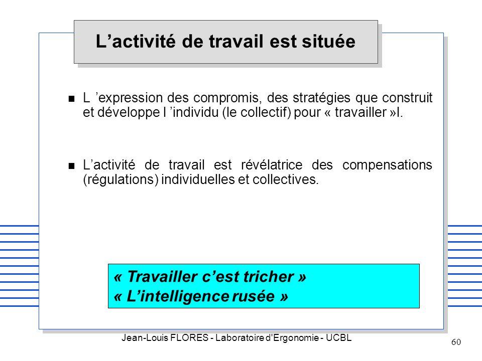 Jean-Louis FLORES - Laboratoire d'Ergonomie - UCBL 60 Lactivité de travail est située n L expression des compromis, des stratégies que construit et dé