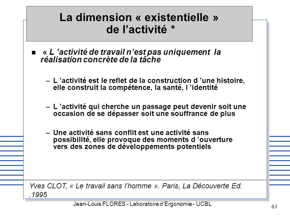 Jean-Louis FLORES - Laboratoire d'Ergonomie - UCBL 63 n « L activité de travail nest pas uniquement la réalisation concrète de la tâche –L activité es