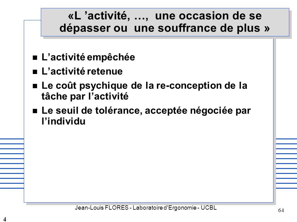 Jean-Louis FLORES - Laboratoire d'Ergonomie - UCBL 64 «L activité, …, une occasion de se dépasser ou une souffrance de plus » n Lactivité empêchée n L