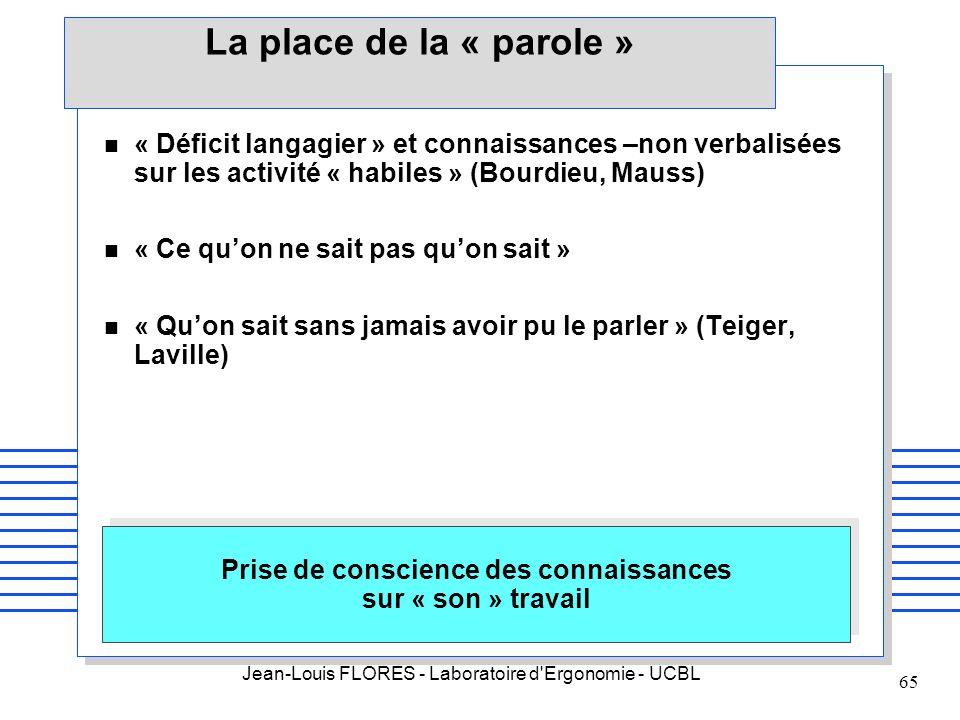 Jean-Louis FLORES - Laboratoire d'Ergonomie - UCBL 65 La place de la « parole » n « Déficit langagier » et connaissances –non verbalisées sur les acti