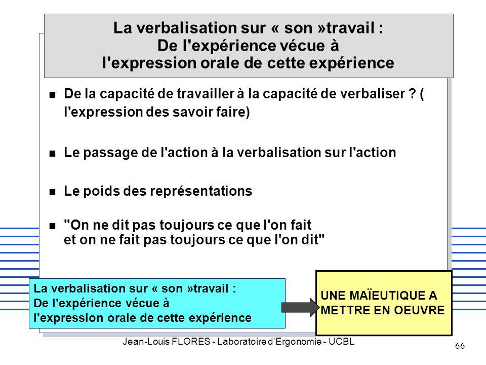 Jean-Louis FLORES - Laboratoire d'Ergonomie - UCBL 66 La verbalisation sur « son »travail : De l'expérience vécue à l'expression orale de cette expéri