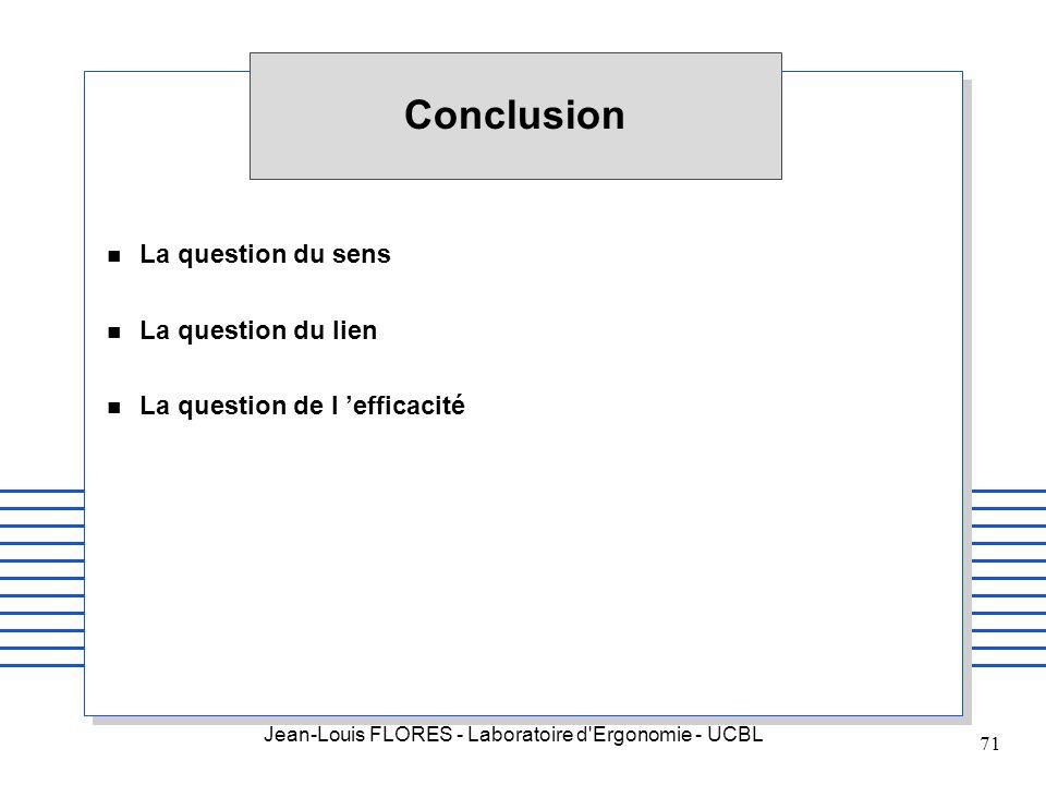 Jean-Louis FLORES - Laboratoire d'Ergonomie - UCBL 71 Conclusion n La question du sens n La question du lien n La question de l efficacité