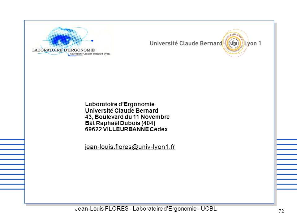 Jean-Louis FLORES - Laboratoire d'Ergonomie - UCBL 72 Laboratoire dErgonomie Université Claude Bernard 43, Boulevard du 11 Novembre Bât Raphaël Dubois