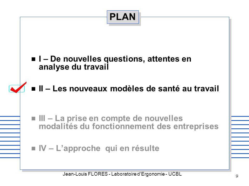 Jean-Louis FLORES - Laboratoire d'Ergonomie - UCBL 9 PLAN n I – De nouvelles questions, attentes en analyse du travail n II – Les nouveaux modèles de