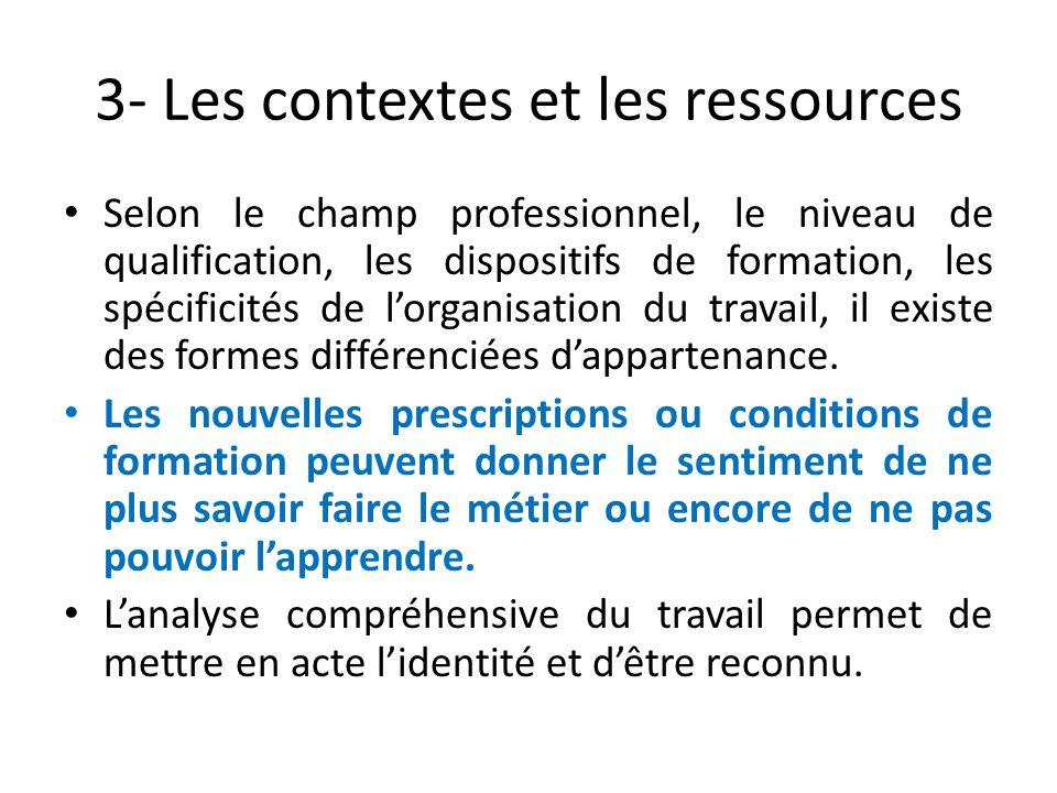 3- Les contextes et les ressources Selon le champ professionnel, le niveau de qualification, les dispositifs de formation, les spécificités de lorgani