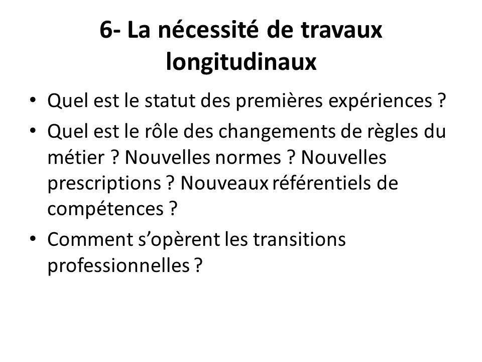 6- La nécessité de travaux longitudinaux Quel est le statut des premières expériences ? Quel est le rôle des changements de règles du métier ? Nouvell