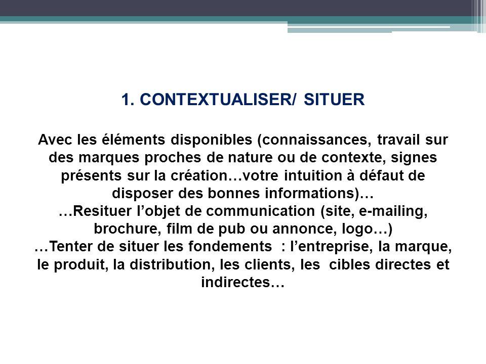 1. CONTEXTUALISER/ SITUER Avec les éléments disponibles (connaissances, travail sur des marques proches de nature ou de contexte, signes présents sur