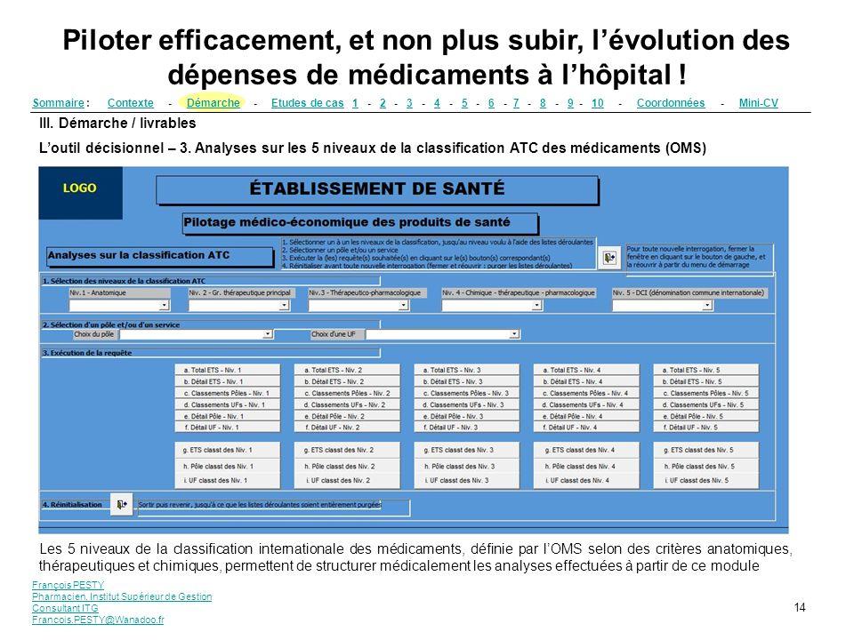 François PESTY Pharmacien, Institut Supérieur de Gestion Consultant ITG Francois.PESTY@Wanadoo.fr 14 III. Démarche / livrables Loutil décisionnel – 3.