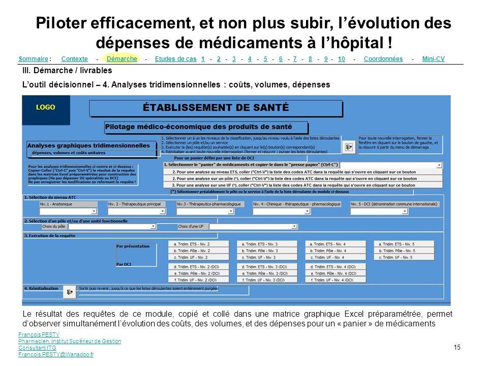 François PESTY Pharmacien, Institut Supérieur de Gestion Consultant ITG Francois.PESTY@Wanadoo.fr 15 III. Démarche / livrables Loutil décisionnel – 4.