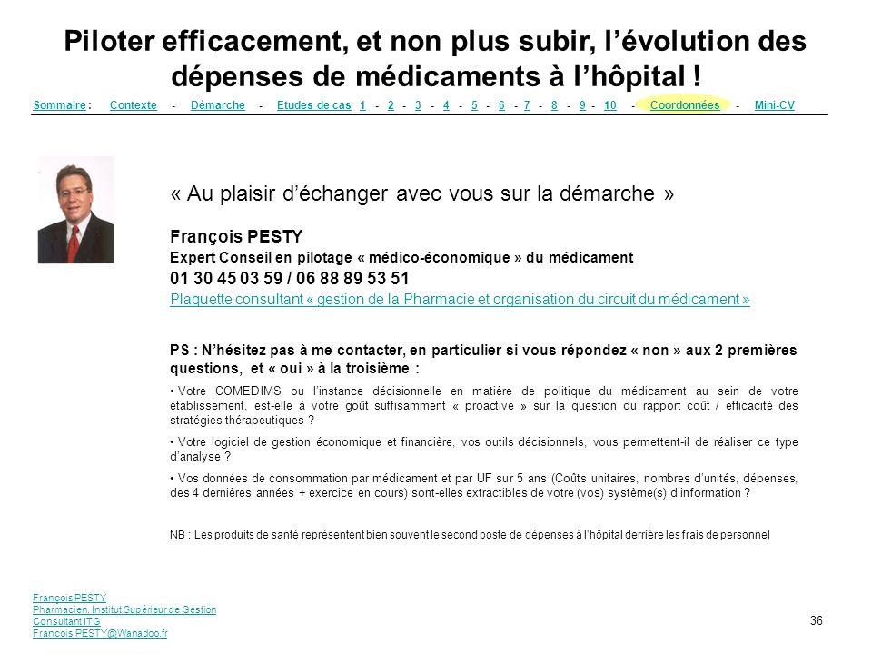 François PESTY Pharmacien, Institut Supérieur de Gestion Consultant ITG Francois.PESTY@Wanadoo.fr 36 Piloter efficacement, et non plus subir, lévoluti