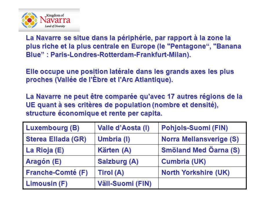 Luxembourg (B) Valle dAosta (I) Pohjols-Suomi (FIN) Sterea Ellada (GR) Umbria (I) Norra Mellansverige (S) La Rioja (E) Kärten (A) Smöland Med Öarna (S) Aragón (E) Salzburg (A) Cumbria (UK) Franche-Comté (F) Tirol (A) North Yorkshire (UK) Limousin (F) Väll-Suomi (FIN) La Navarre se situe dans la périphérie, par rapport à la zone la plus riche et la plus centrale en Europe (le Pentagone, Banana Blue : Paris-Londres-Rotterdam-Frankfurt-Milan).
