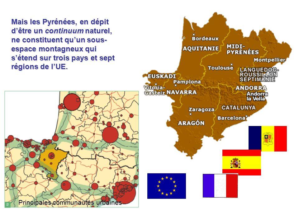 LESPACE PYRÉNÉEN Trois Régions françaises Région Aquitaine Région Languedoc-Rousillon Région Midi-Pyrénées Quatre Communautés espagnoles C.A.