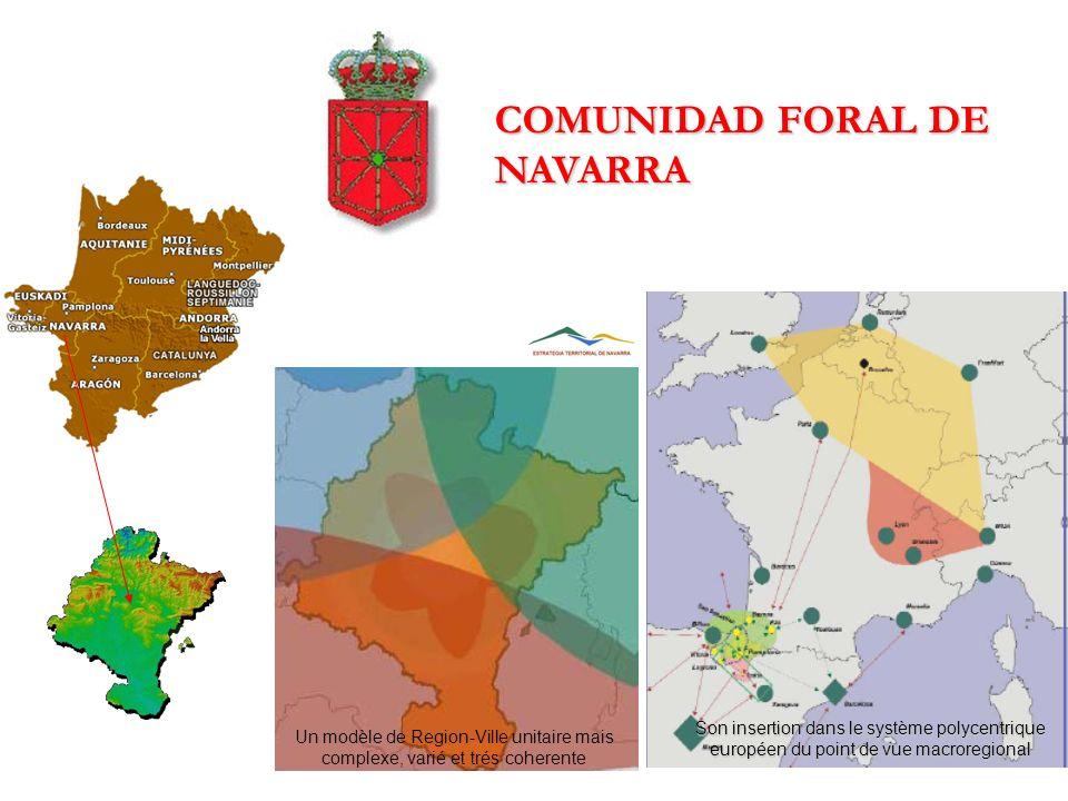 COMUNIDAD FORAL DE NAVARRA Son insertion dans le système polycentrique européen du point de vue macroregional Un modèle de Region-Ville unitaire mais complexe, varié et trés coherente
