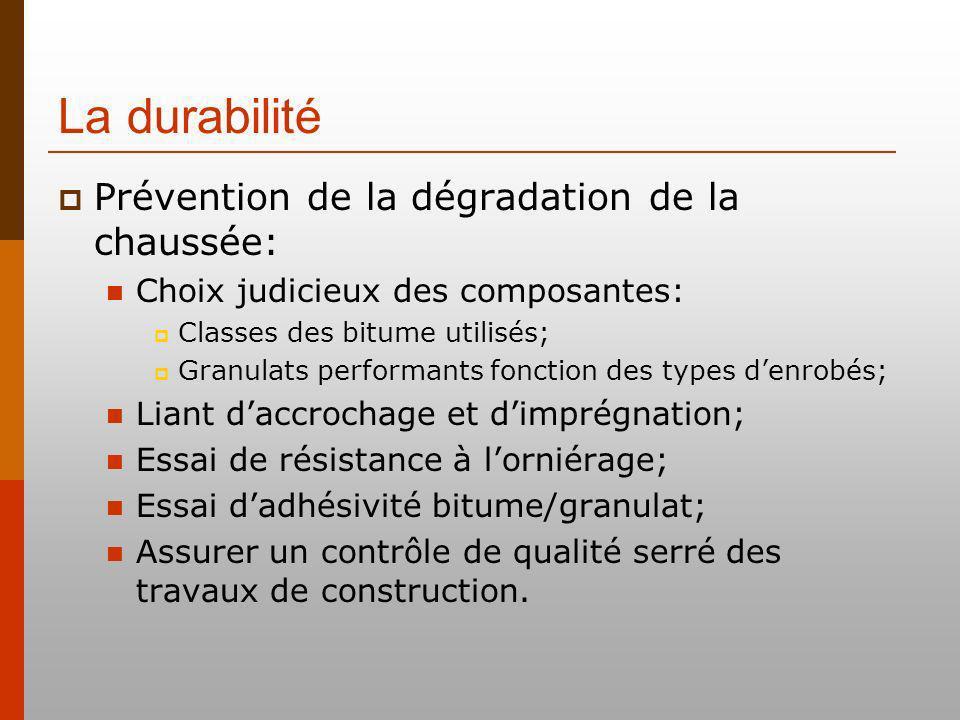La durabilité Prévention de la dégradation de la chaussée: Choix judicieux des composantes: Classes des bitume utilisés; Granulats performants fonctio