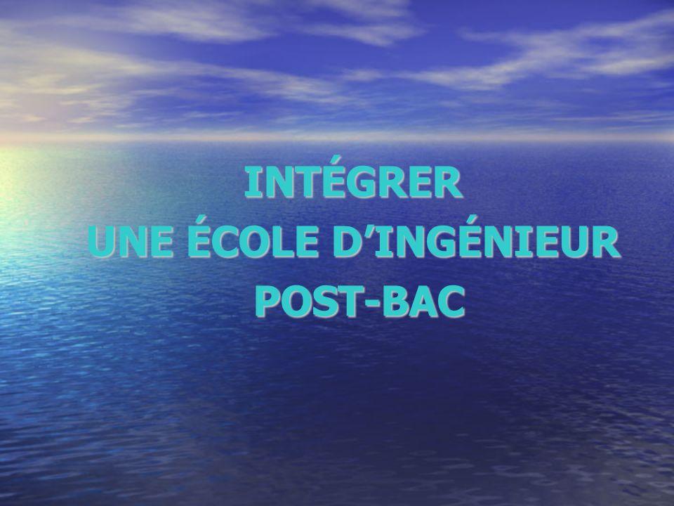 INTÉGRER UNE ÉCOLE DINGÉNIEUR POST-BAC POST-BAC