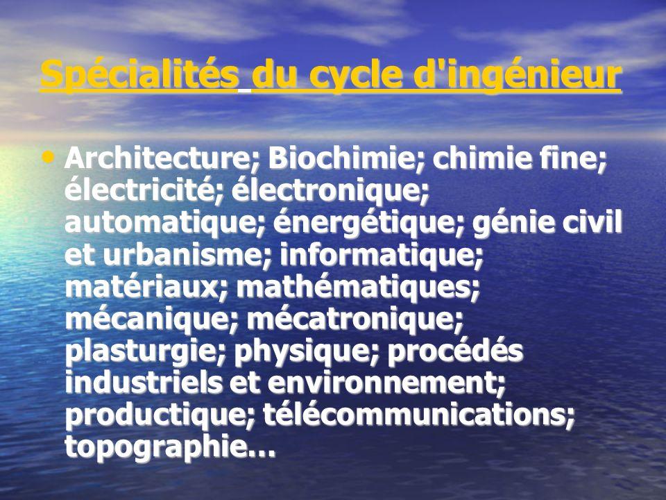 Spécialités du cycle d'ingénieur Architecture; Biochimie; chimie fine; électricité; électronique; automatique; énergétique; génie civil et urbanisme;