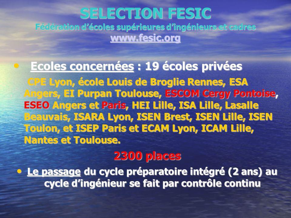 SELECTION FESIC Fédération décoles supérieures dingénieurs et cadres www.fesic.org www.fesic.org Ecoles concernées : 19 écoles privées Ecoles concerné