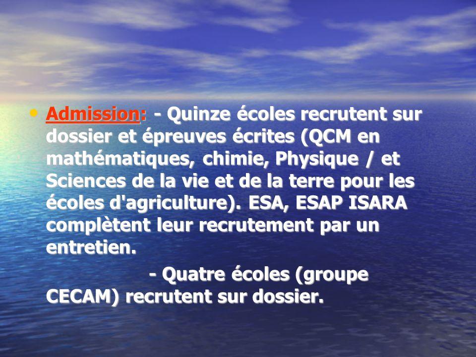 Admission: - Quinze écoles recrutent sur dossier et épreuves écrites (QCM en mathématiques, chimie, Physique / et Sciences de la vie et de la terre po