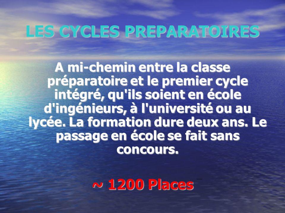LES CYCLES PREPARATOIRES A mi-chemin entre la classe préparatoire et le premier cycle intégré, qu'ils soient en école d'ingénieurs, à l'université ou