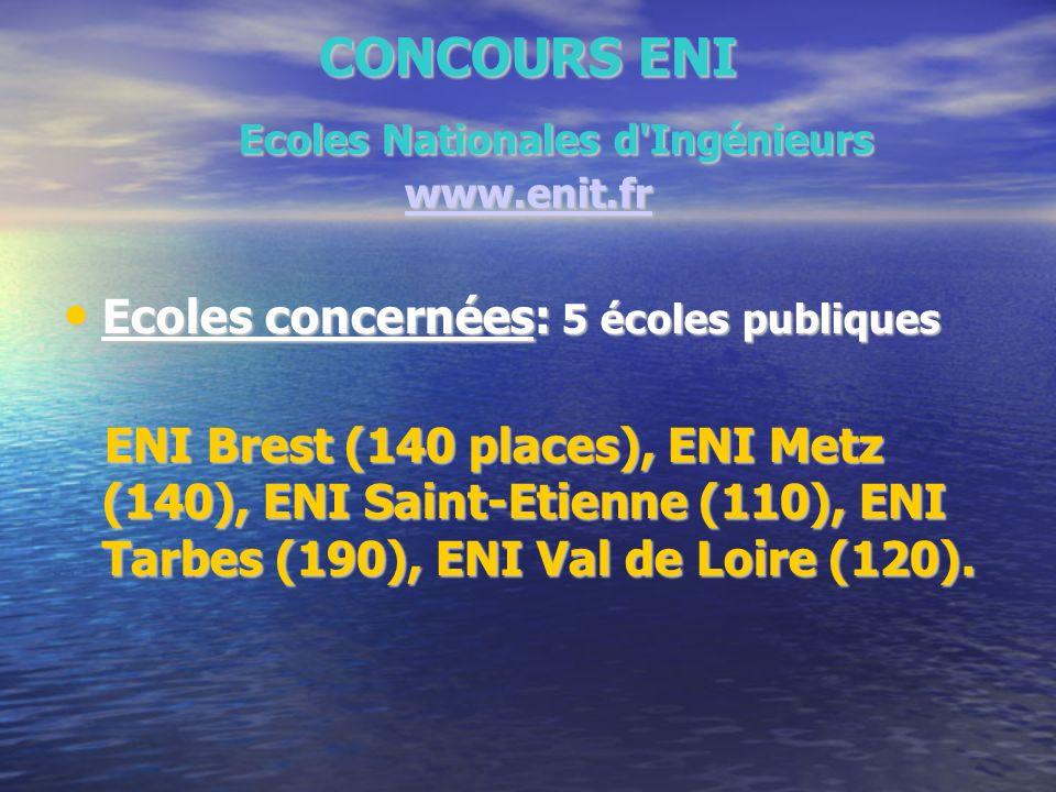 CONCOURS ENI Ecoles Nationales d'Ingénieurs www.enit.fr www.enit.fr Ecoles concernées: 5 écoles publiques Ecoles concernées: 5 écoles publiques ENI Br