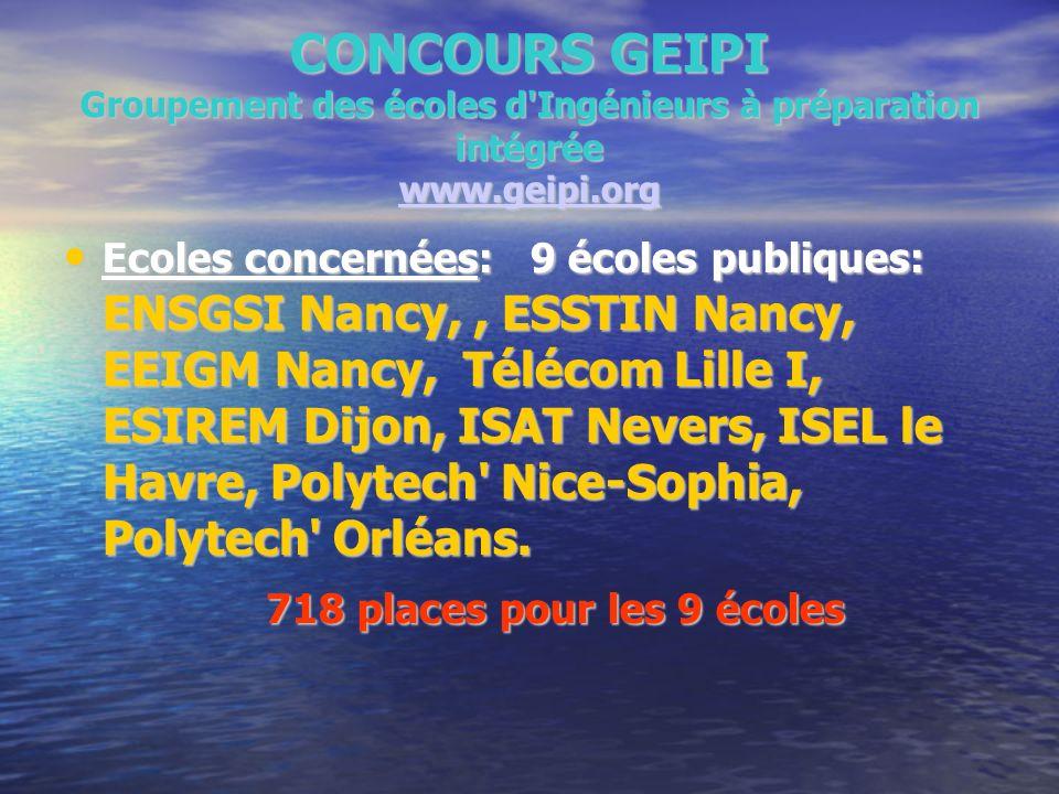 CONCOURS GEIPI Groupement des écoles d'Ingénieurs à préparation intégrée www.geipi.org www.geipi.org Ecoles concernées: 9 écoles publiques: ENSGSI Nan