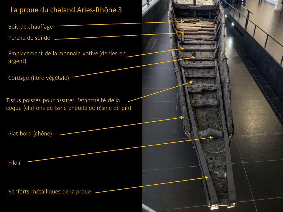 La proue du chaland Arles-Rhône 3 Renforts métalliques de la proue Filoir Cordage (fibre végétale) Plat-bord (chêne) Emplacement de la monnaie votive
