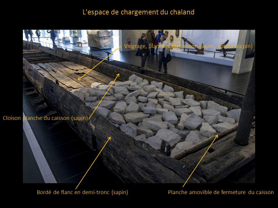 L'espace de chargement du chaland Planche amovible de fermeture du caissonBordé de flanc en demi-tronc (sapin) Cloison planche du caisson (sapin) Vaig