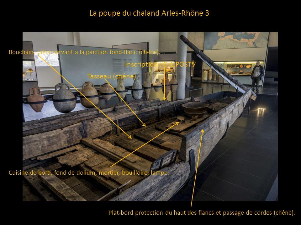 La poupe du chaland Arles-Rhône 3 Plat-bord protection du haut des flancs et passage de cordes (chêne). Tasseau (chêne) Bouchain, pièce servant a la j