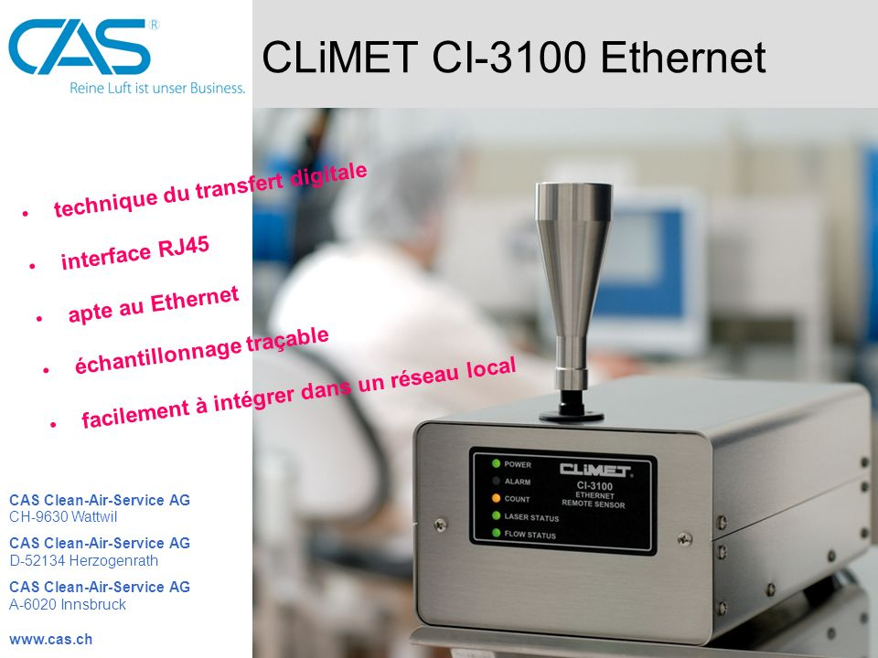 CLiMET CI-3100 Ethernet technique du transfert digitale interface RJ45 apte au Ethernet échantillonnage traçable facilement à intégrer dans un réseau