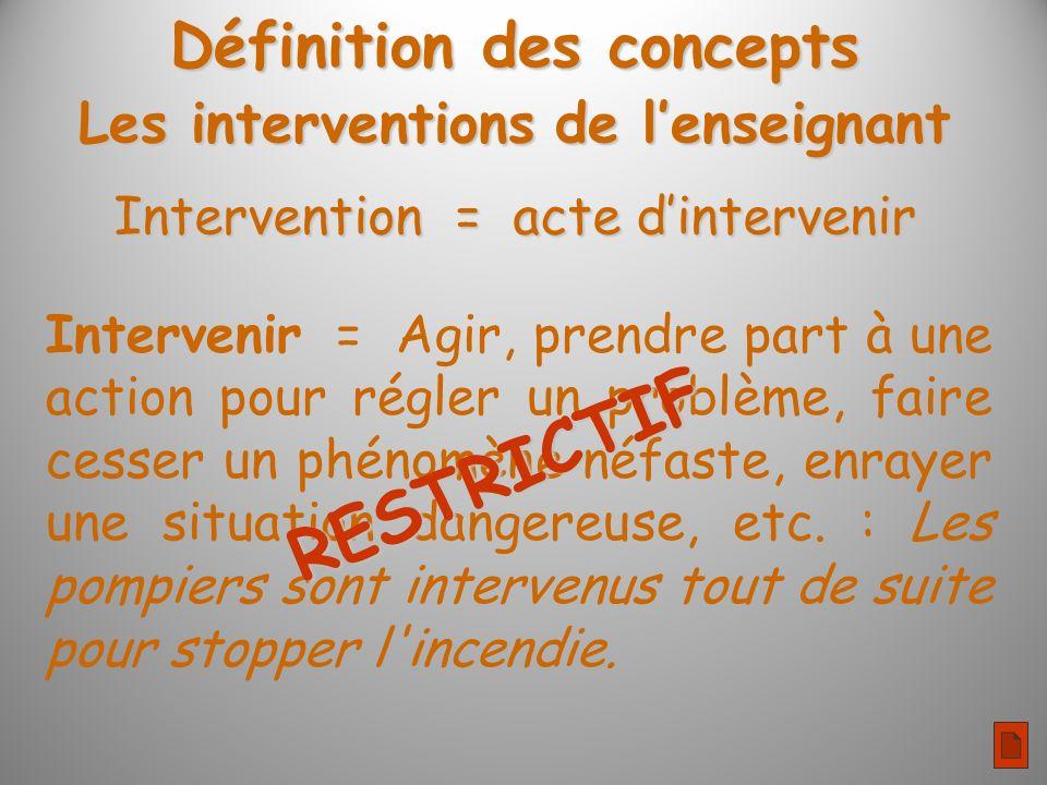 Intervention = acte dintervenir Intervenir = Agir, prendre part à une action pour régler un problème, faire cesser un phénomène néfaste, enrayer une situation dangereuse, etc.