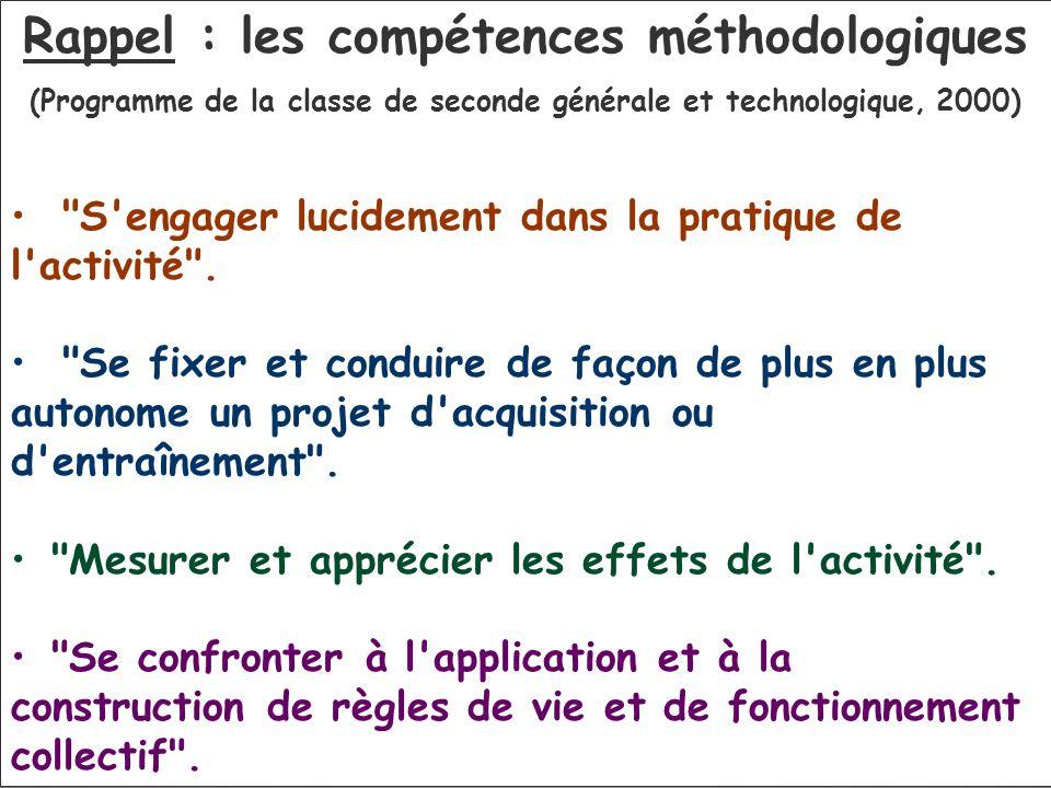 Rappel : les compétences méthodologiques (Programme de la classe de seconde générale et technologique, 2000)