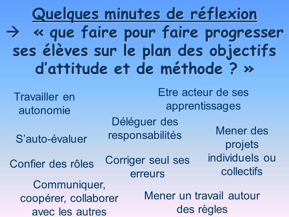 Quelques minutes de réflexion « que faire pour faire progresser ses élèves sur le plan des objectifs dattitude et de méthode ? » « que faire pour fair