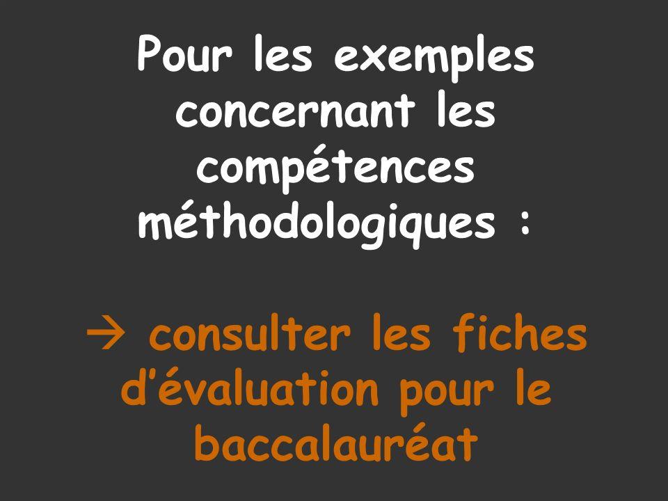 Pour les exemples concernant les compétences méthodologiques : consulter les fiches dévaluation pour le baccalauréat