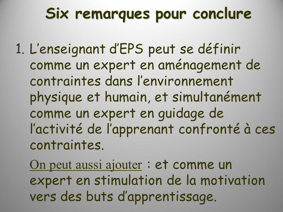 Six remarques pour conclure 1.Lenseignant dEPS peut se définir comme un expert en aménagement de contraintes dans lenvironnement physique et humain, et simultanément comme un expert en guidage de lactivité de lapprenant confronté à ces contraintes.
