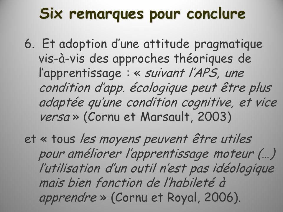 Six remarques pour conclure 6. Et adoption dune attitude pragmatique vis-à-vis des approches théoriques de lapprentissage : « suivant lAPS, une condit
